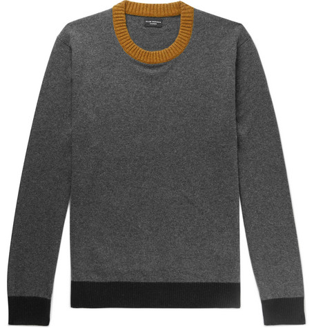 Club Monaco - Contrast-Trimmed Cashmere Sweater - Men - Charcoal