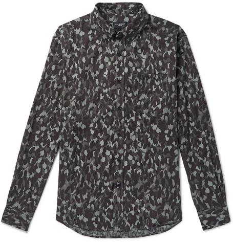ff6ea7afe7c Club Monaco – Slim-Fit Button-Down Collar Camouflage-Print Cotton-Flannel  Shirt – Men – Green