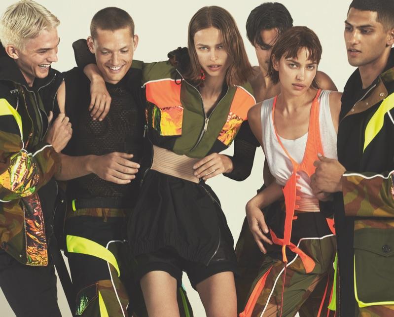 Models Tommy Hackett, William Los, Birgit Kos, Elliot Meeten, and Irina Shayk appear in Dsquared2's spring-summer 2019 campaign.