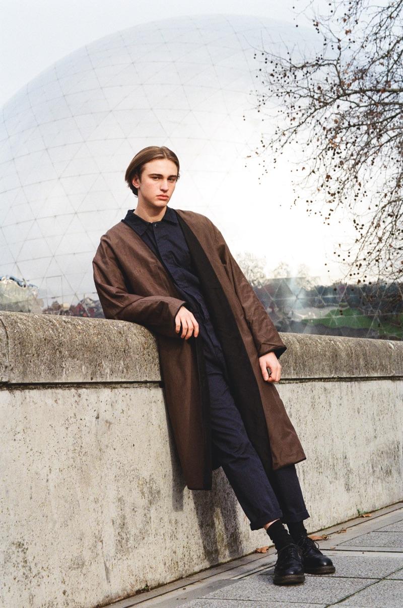 Thierry wears jumpsuit Le Mont St Michel and coat Joe Chia.