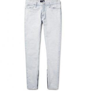 Fear of God - Skinny-Fit Zip-Detailed Distressed Selvedge Denim Jeans - Men - Light denim