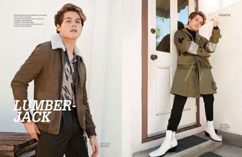 Left: Froy Gutierrez sports an AllSaints jacket and shirt with Topman pants. Right: Gutierrez wears a top and pants by Jay Stephan.