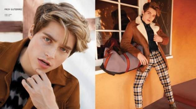 Ready for his close-up, Froy Gutierrez dons a Topman jacket. Pictured right, Gutierrez wears a Topman jacket and checked pants with Native shoes and an AllSaints shirt.