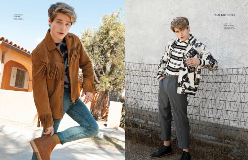 Left: Embracing western style, Froy Gutierrez wears a Topman jacket and jeans with a HUF t-shirt. Right: Gutierrez dons a HUF jacket with an AllSaints shirt and pants with Timberland shoes.