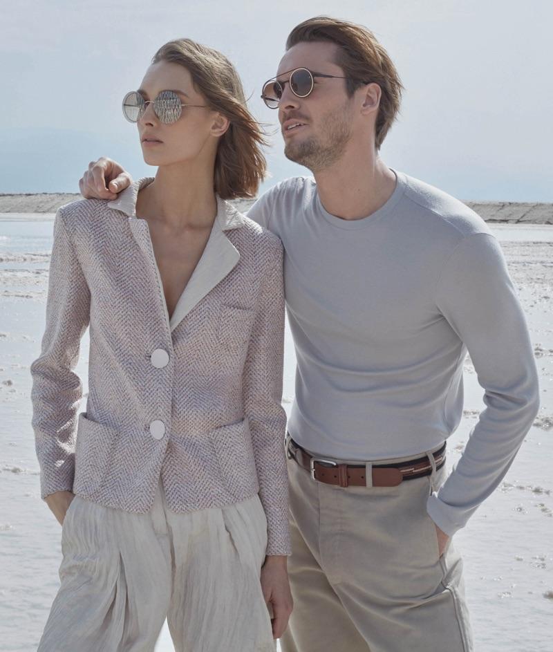 Models Daga Ziober and Maxime Daunay front Giorgio Armani's spring-summer 2019 campaign.
