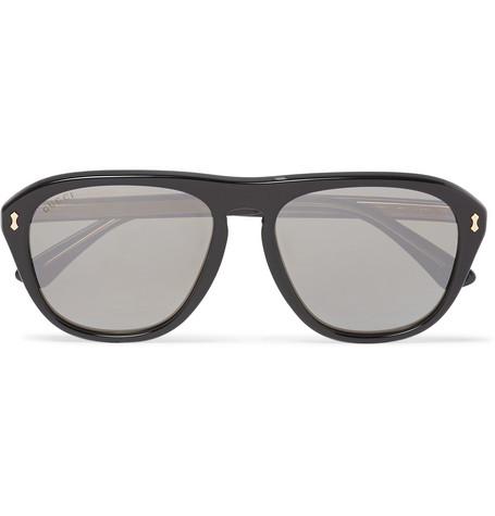 f81735d3dbd Gucci – Aviator-Style Acetate Mirrored Sunglasses – Men – Black ...