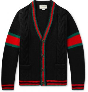 Gucci - Stripe-Trimmed Cable-Knit Wool Cardigan - Men - Black
