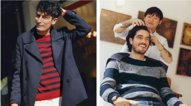 Moein Asgharnejad and Victor Bill model striped fashions from H&M.