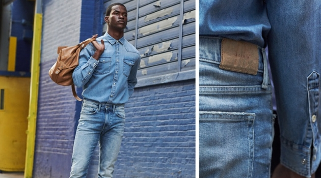 Doubling down on denim, Salomon Diaz wears H&M skinny jeans.