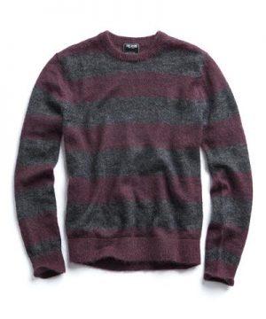 Italian Brushed Wool Crewneck Sweater in Charcoal/Plum