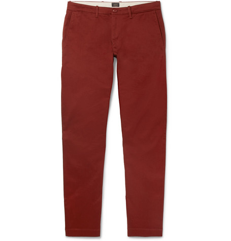 28c77452bd91 J.Crew – 484 Slim-Fit Stretch-Cotton Twill Chinos – Men – Burgundy ...