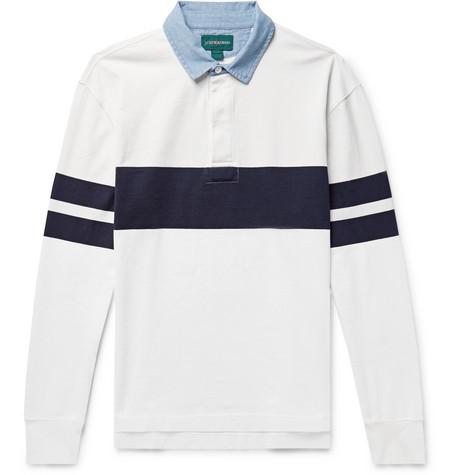 J.Crew - Chambray-Trimmed Striped Cotton-Jersey Polo Shirt - Men - White