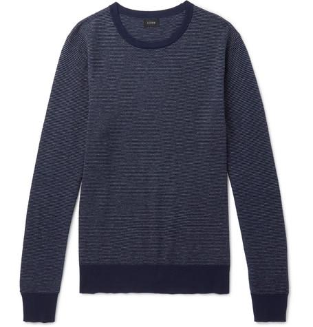 51903ff0a2bef8 J.Crew – Mélange Cotton-Piqué and Cashmere-Blend Sweater – Men – Navy | The  Fashionisto