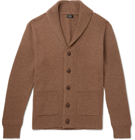 J.Crew - Slim-Fit Shawl-Collar Ribbed Merino Wool-Blend Cardigan - Men - Brown
