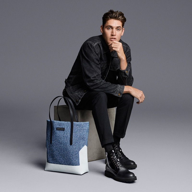 Rocking boots, Isaac Carew hits the studio with Jimmy Choo for spring-summer 2019.