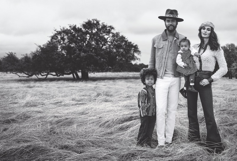 Danny Clinch photographs Gary Clark Jr. with his children and wife Nicole Trunfio for John Varvatos' spring-summer 2019 campaign.