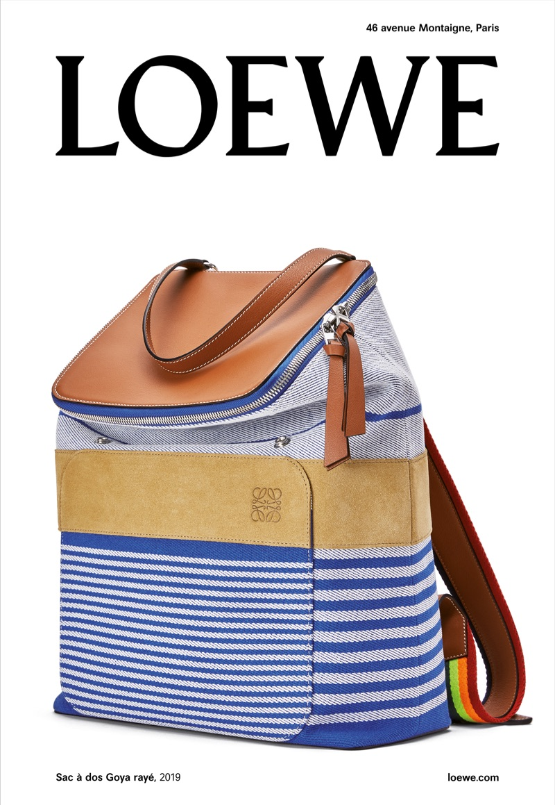 Loewe spotlights its Goya backpack in its fall-winter 2019 campaign.