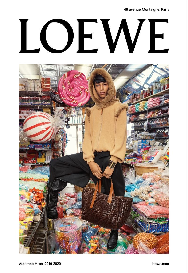 Yassine Jaajoui appears in Loewe's fall-winter 2019 campaign.
