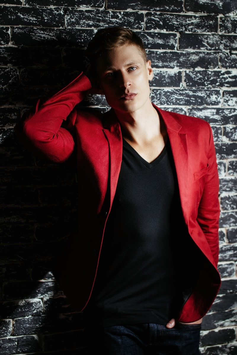 Male Model Red Suit Jacket