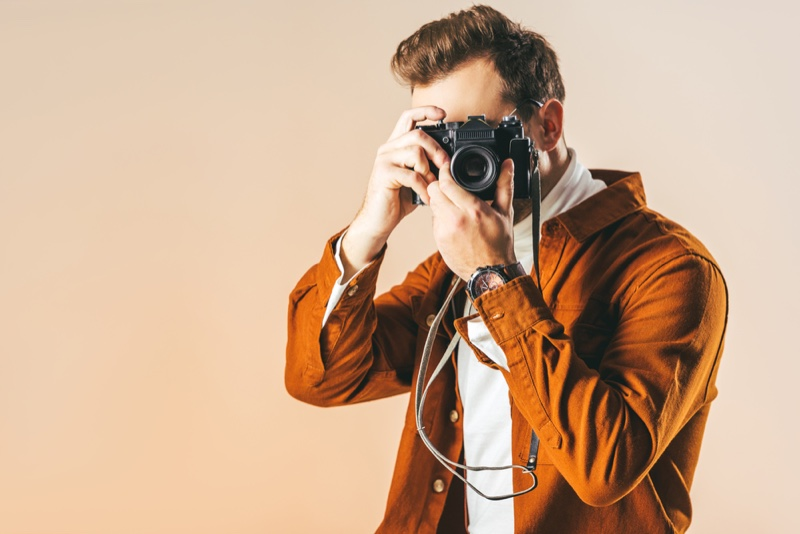Fashionable Model Man with Camera