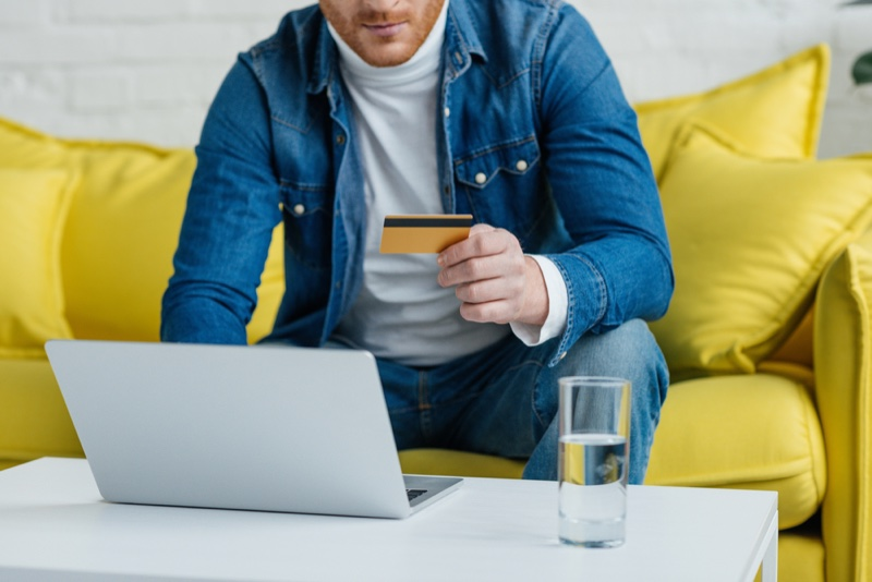Man Online Shopping Credit Card
