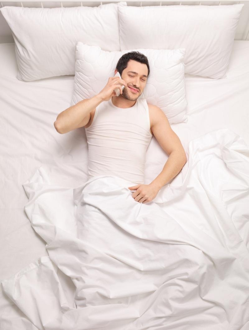 Man Phone Bed Mattress White