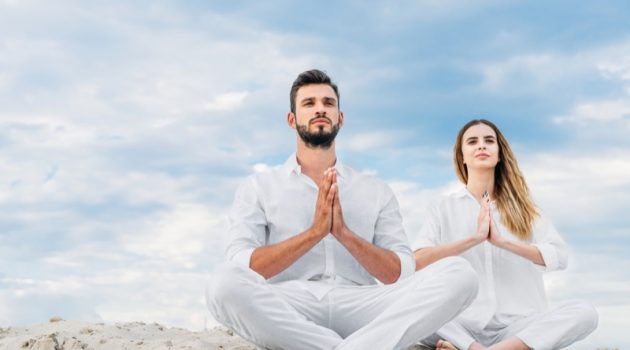 Man Woman Mediation Dressed in White