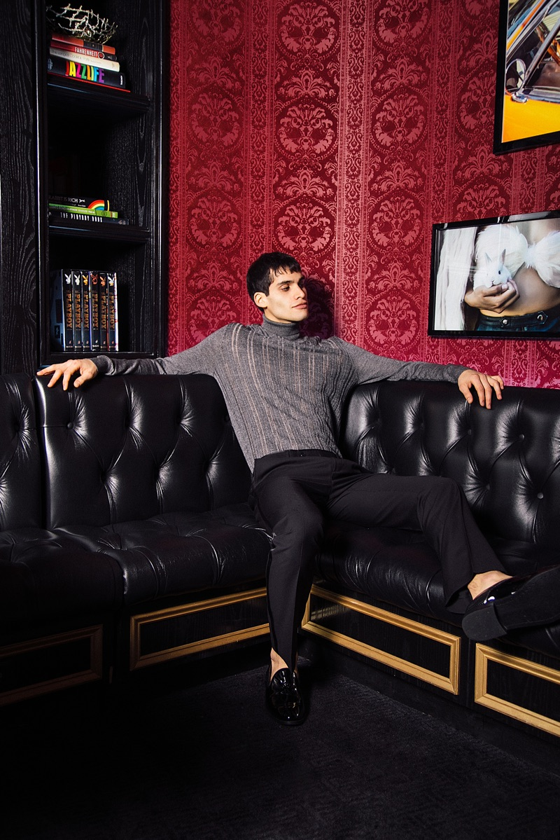 Marvin wears sweater Marc Jacobs, pants Paisley & Gray, and shoes Topman.