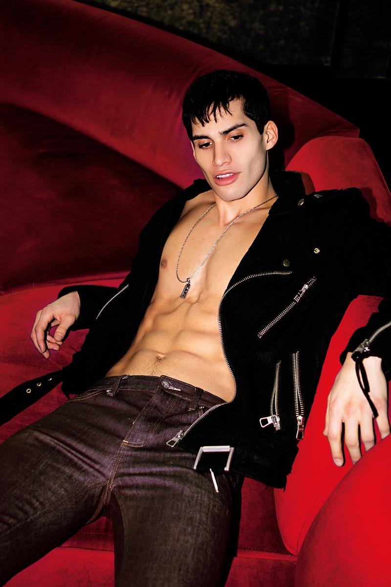 Marvin wears biker jacket Dsquared2 and pants AllSaints.