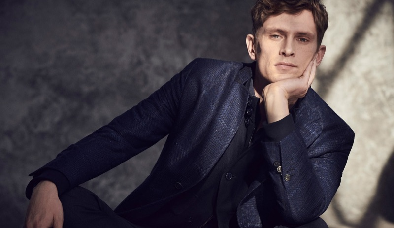Taking to the studio, Mathias Lauridsen wears Massimo Dutti.