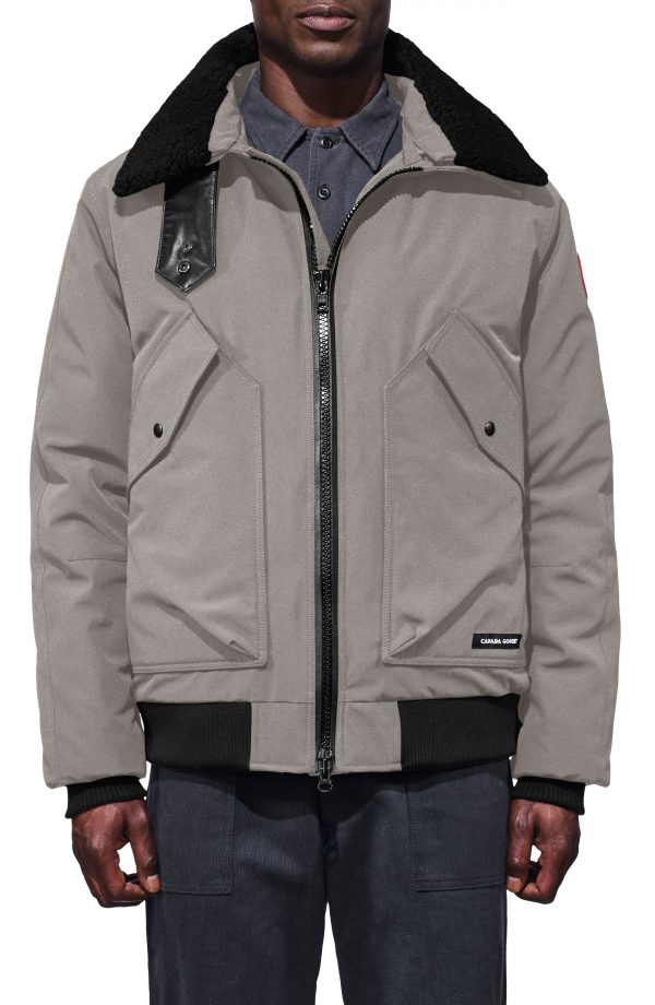 Men's Canada Goose Bromley Slim Fit Down Bomber Jacket With Genuine Shearling Collar, Size X-Large - Grey