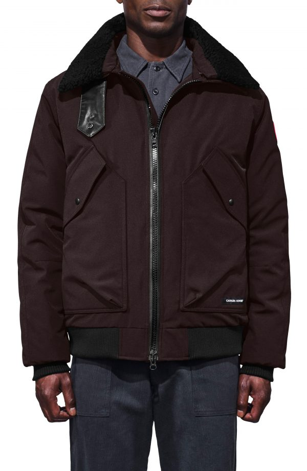Men's Canada Goose Bromley Slim Fit Down Bomber Jacket With Genuine Shearling Collar, Size X-Small - Brown