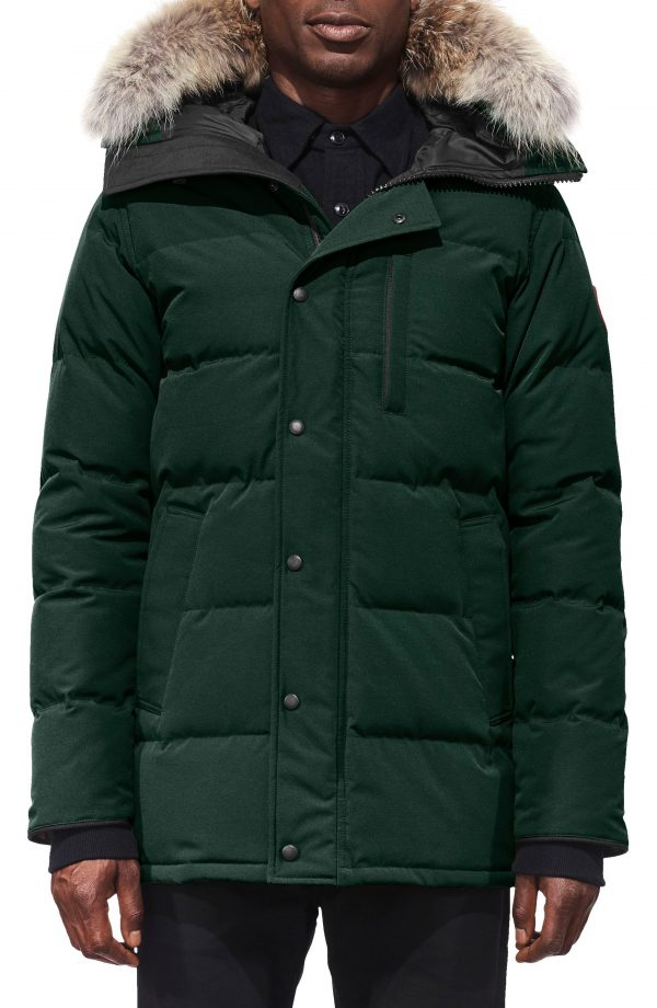 Men's Canada Goose 'Carson' Slim Fit Hooded Packable Parka With Genuine Coyote Fur Trim, Size Small - Green
