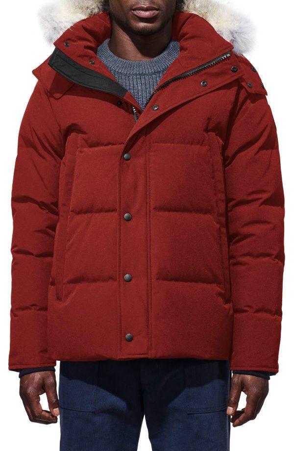 Men's Canada Goose Wyndham Slim Fit Genuine Coyote Fur Trim Down Jacket, Size X-Large - Red