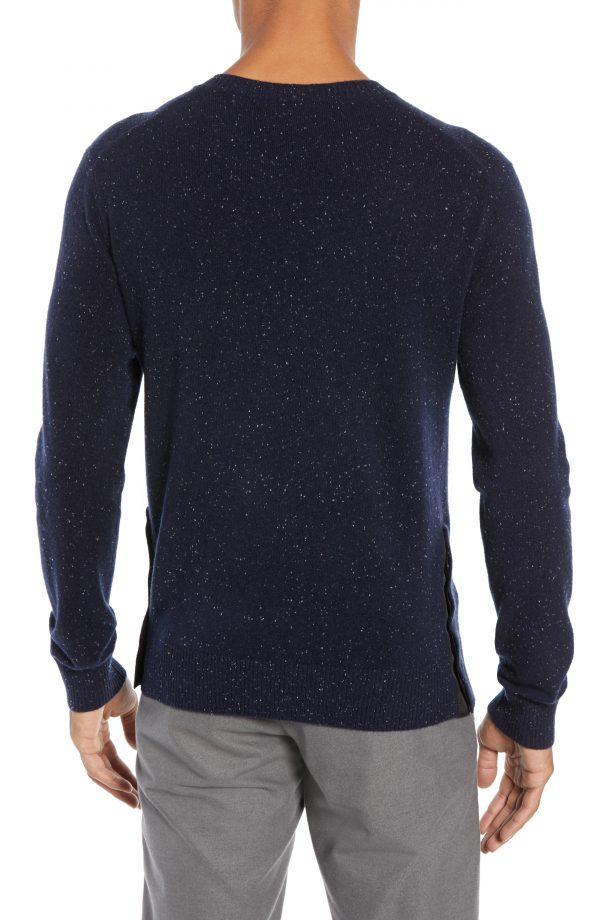 Men's Club Monaco Flecked Cashmere Sweater, Size Medium - Blue