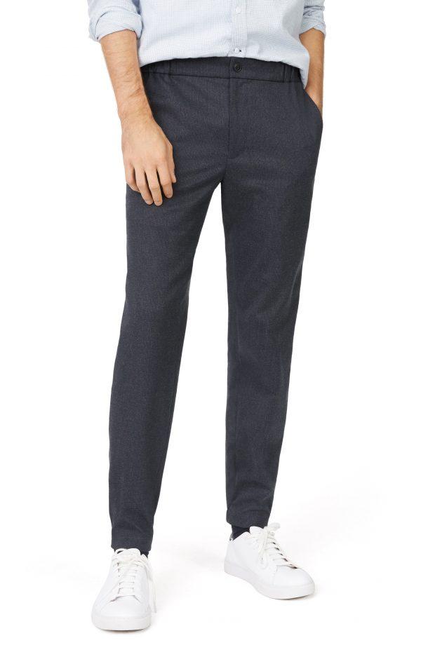 Men's Club Monaco Lex Trim Fit Houndstooth Stretch Pants, Size Medium - Blue