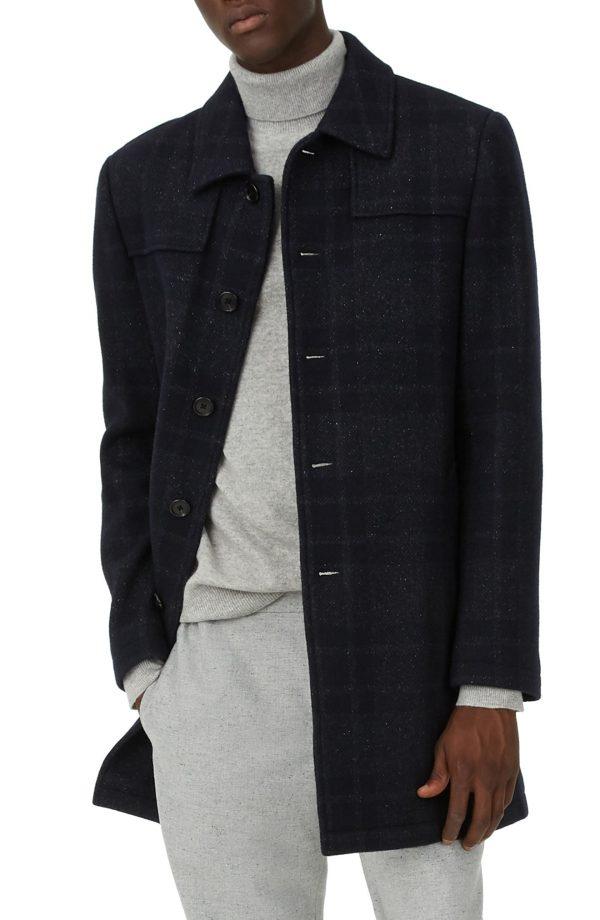 Men's Club Monaco Luther Trim Fit Plaid Wool Blend Coat, Size 38 - Blue
