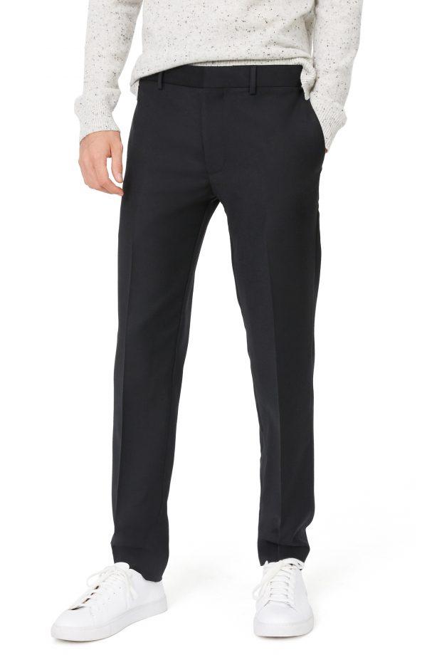 Men's Club Monaco Sutton Trim Fit Stretch Wool Blend Pants, Size 34 x 32 - Black