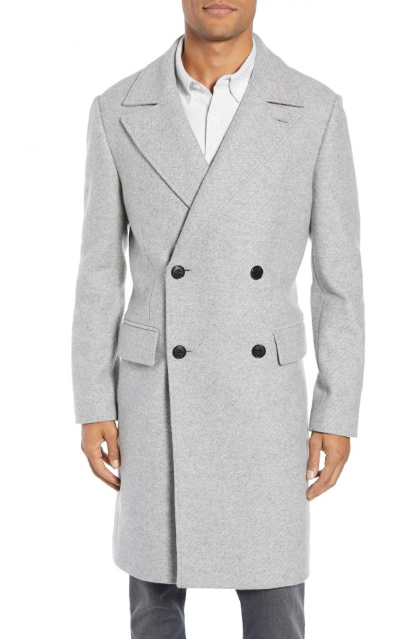 Men's Club Monaco Trim Fit Double Breasted Wool Blend Topcoat, Size 40 - Grey