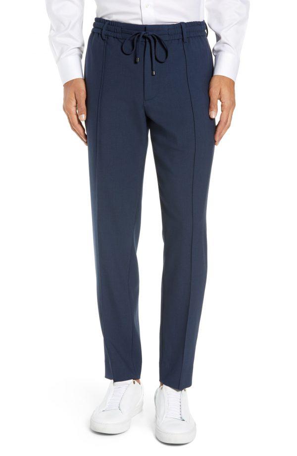 Men's Club Monaco Trim Fit Pintuck Pants, Size Medium - Blue