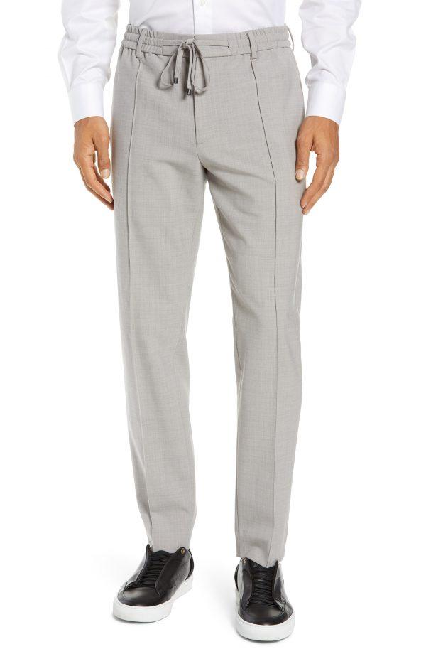 Men's Club Monaco Trim Fit Pintuck Pants, Size Medium - Grey