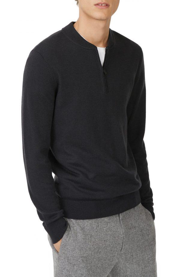Men's Club Monaco Trim Fit Quarter Zip Wool Sweater, Size Medium - Grey
