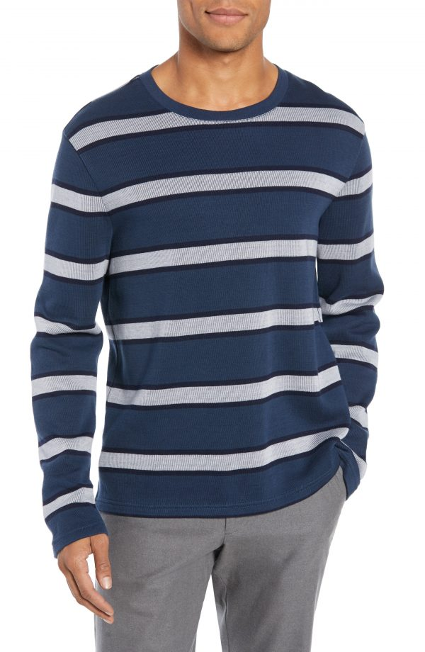 Men's Club Monaco Trim Fit Stripe Sweater, Size X-Large - Blue