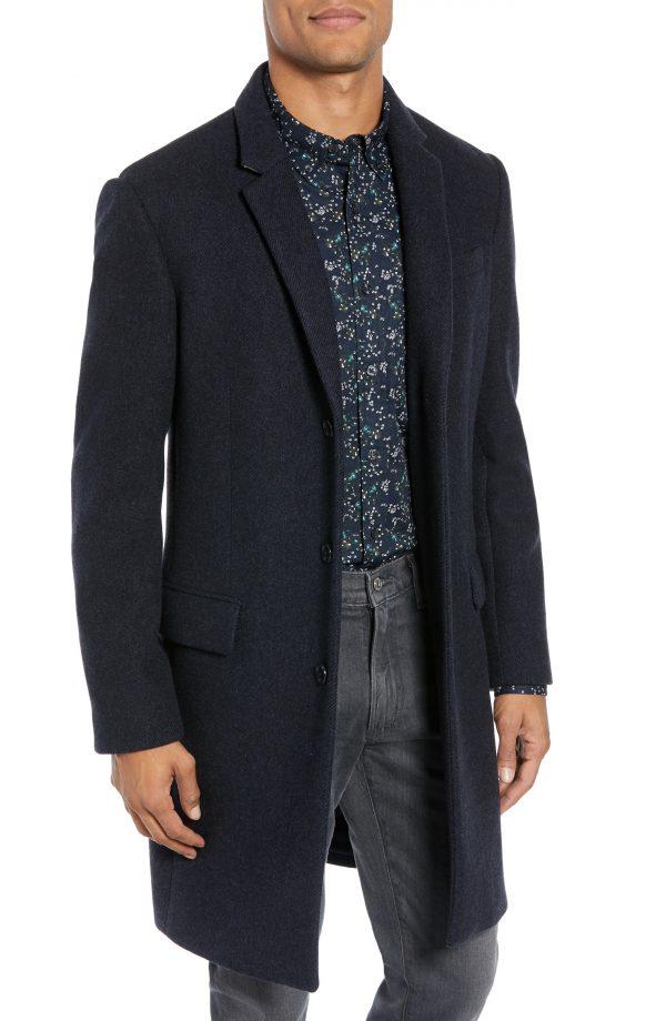 Men's Club Monaco Trim Fit Twill Topcoat, Size 44 - Blue