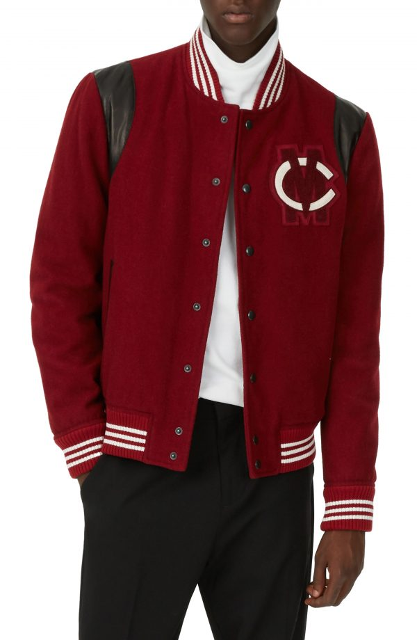 Men's Club Monaco Varsity Patch Jacket, Size Large - Red