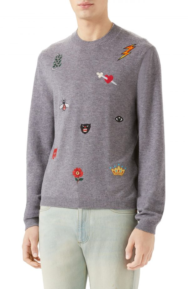 Men's Gucci Embroidered Wool Crewneck Sweater