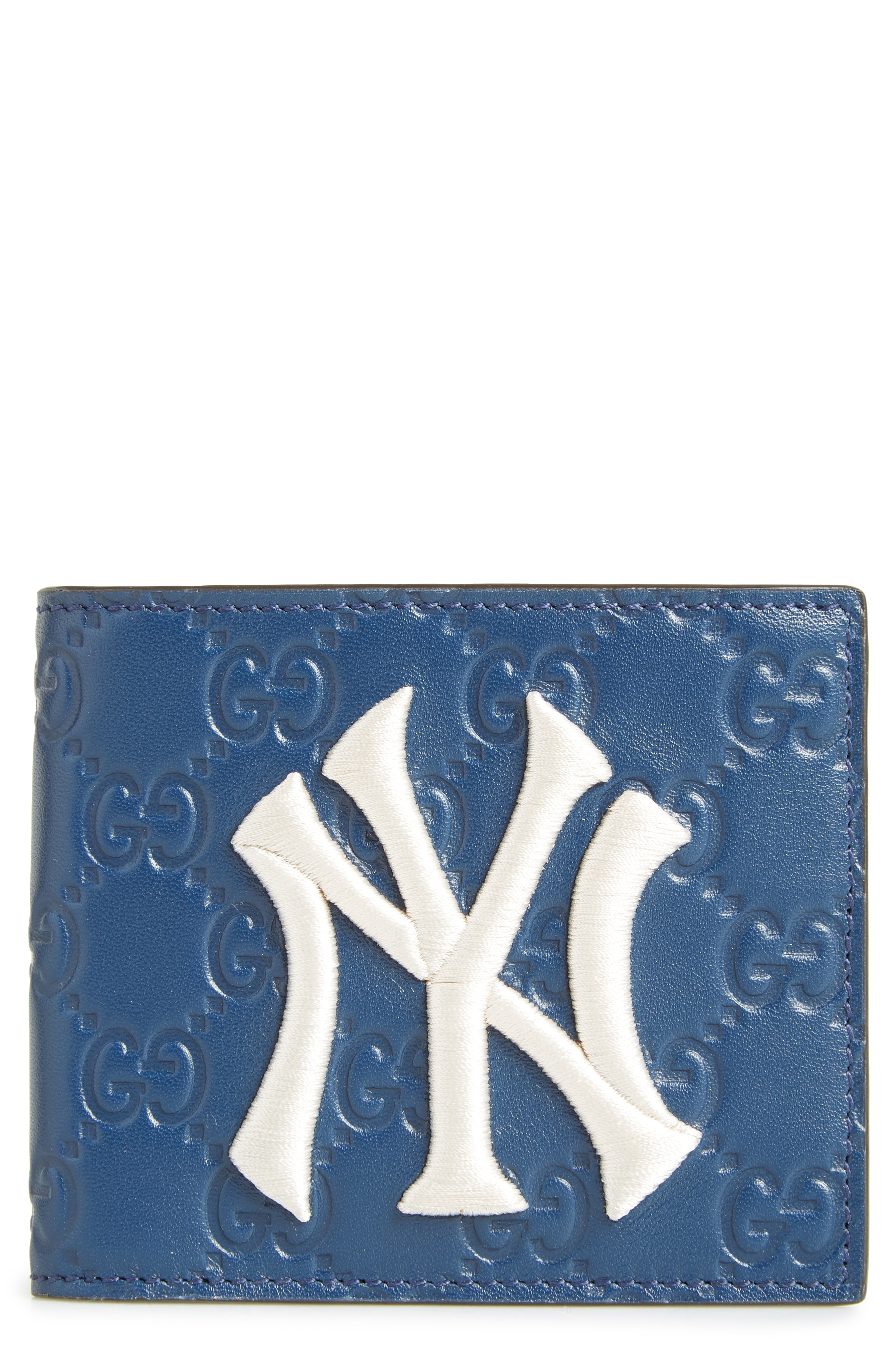 0a4391631b7c Men's Gucci New York Yankees Leather Wallet – Blue | The Fashionisto