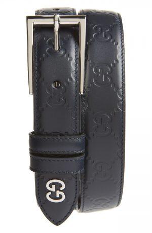 Men's Gucci Reversible Signature Leather Belt, Size 85 EU - Blue