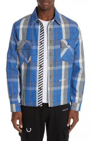 Men's Off-White Check Shirt, Size Small - Blue