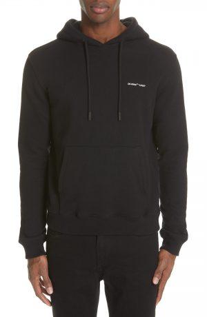 Men's Off-White Slim Fit Logo Hoodie, Size Small - Black